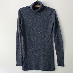 BCBG Cashmere Navy Stripe Turtleneck Sweater - XS